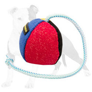 French Linen Stuffed Ball on String for Bite Training and Playing 4.3 inch (11 cm)