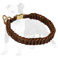Braided Leather Choke Collar with Quick Release Buckle for Training and Behavior Correction