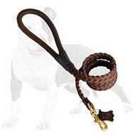 4 FT Braided Leather Dog Leashes for Training Dogs