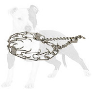 Silver-like chrome plated pinch dog collar with swivel and snap hook 1/11 inch (2.25 mm)