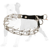 Smart Design Stainless Steel Pinch Dog Collar with Click Lock Buckle and Nylon Loop 1/8 inch (3.2 mm)