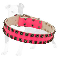 Pink Leather Dog Collar with Caterpillar Studs for Daily Walking