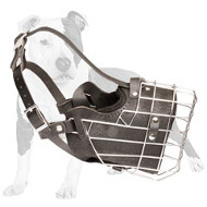 Wire Cage Dog Muzzle with Leather Padding for Training