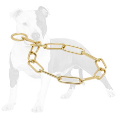 Training choke dog collar made of brass