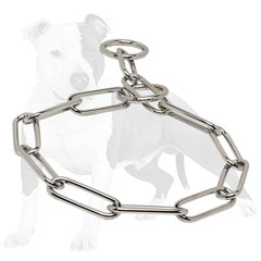 Training choke dog collar made of chrome plated steel