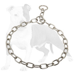 Choke chain dog collar with smooth surface