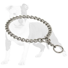 Choke dog collar with smooth links