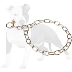 Easy in use choke chain collar with fur saving links