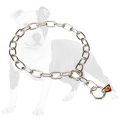 Fur saver choke chain dog collar made of steel