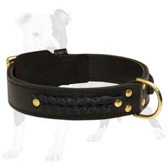 Extra wide leather collar for comfortable wearing