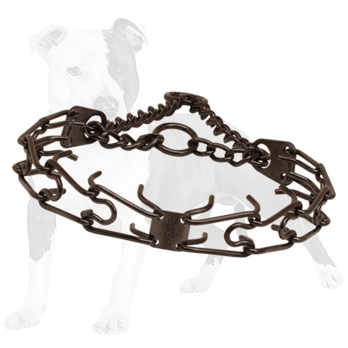 Black steel pinch dog collar for long     service