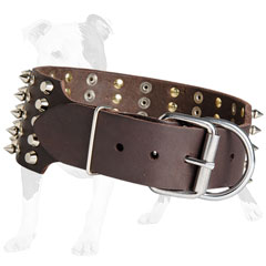 Durable leather collar with nickel buckle and D-ring