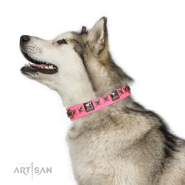 Designer embellished natural leather dog collar for comfy wearing
