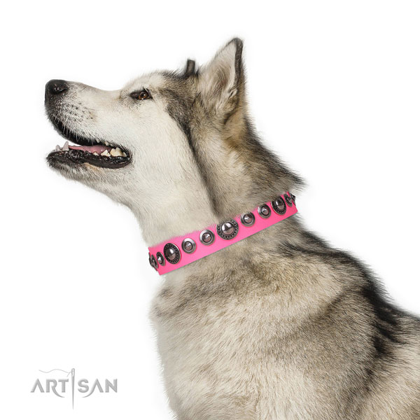 Remarkable adorned leather dog collar for easy wearing