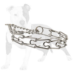 Sturdy chrome plated pinch dog collar