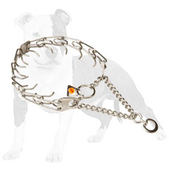 Chrome plated steel pinch dog collar