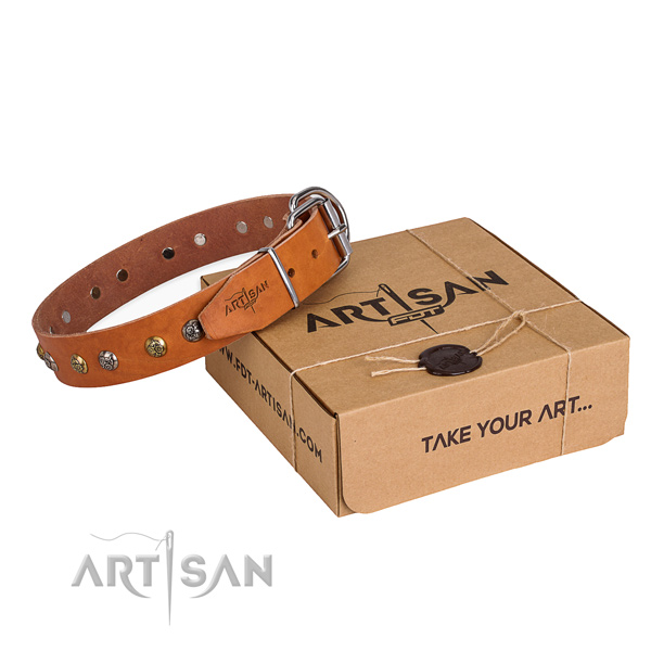 Natural genuine leather dog collar with amazing durable adornments
