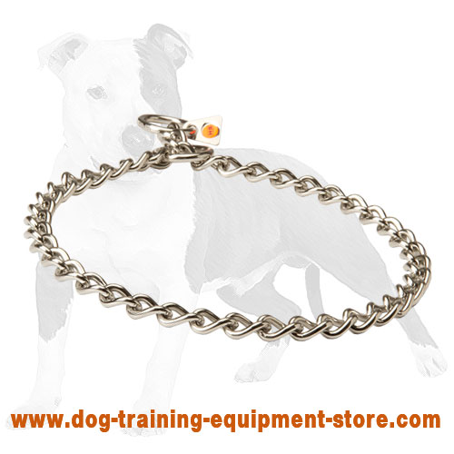 Choke collar 3mm Stainless Steel Choke Dog Collar with quality label 1/9 inch (3 mm)