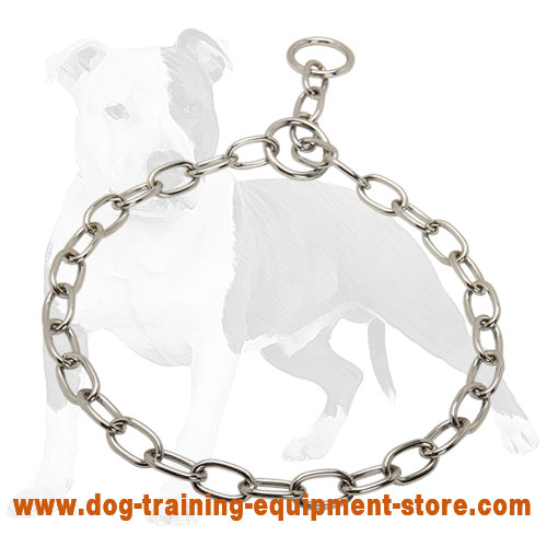 Chrome Plated Fur Saver Dog Collar for Daily Training 1/8 inch (3.2 mm) link diameter