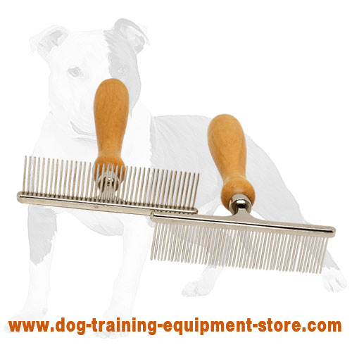 Daily Dog Comb with Wooden Handle