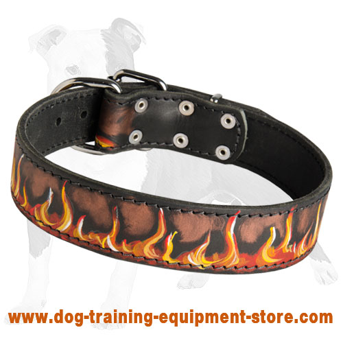 Painted in Flames Leather Dog Collar for Training and Walking