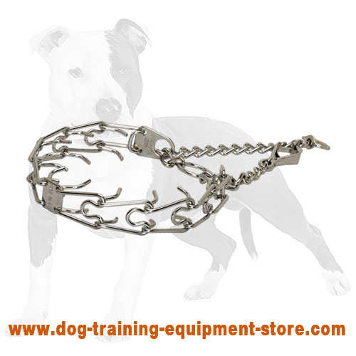 Chrome plated dog pinch collar with swivel and small quick release snap hook 1/9 inch (3.0 mm)