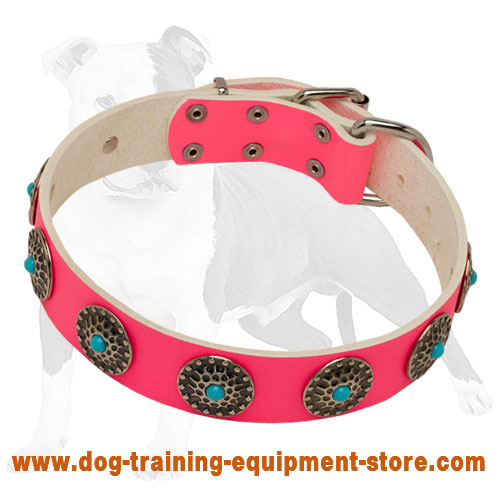 Pink Leather She-Dog Collar with Blue Stones and Figured Studs