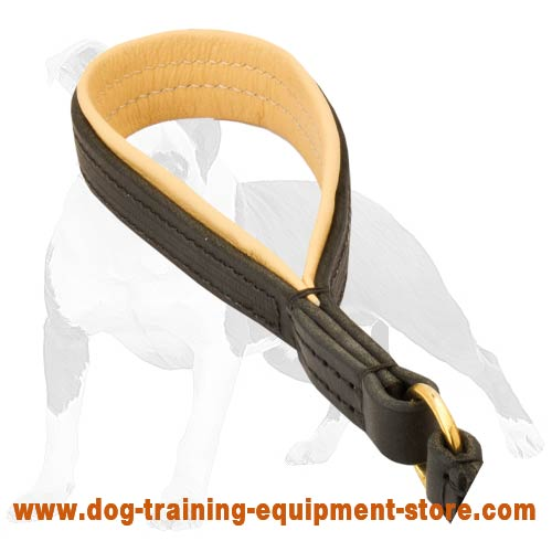 Dog lead with Nappa leather padded handle