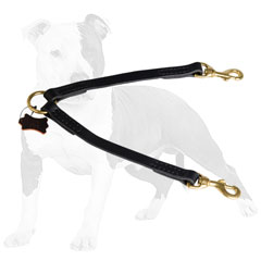 Leather Dog Coupler for Comfortable Walking Two Dogs