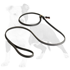 Reliable leather dog leash with handle