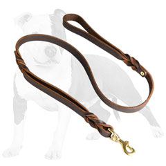 Braided leather dog leash with handle