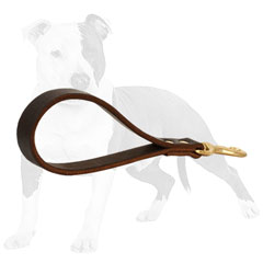 Brown Short Leash with Brass Snap Hook