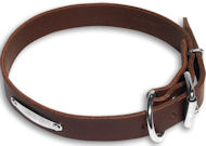Leather collar with name tag - id tag - c456-Dog Supplies