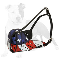 Handpainted leather dog muzzle in American style