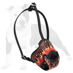 Softly padded leather dog muzzle with flames
