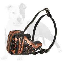 Everyday leather dog muzzle with ventilation holes