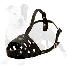 Super protective leather dog muzzle