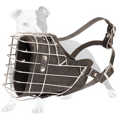 Leather Padded Wire basket Dog Muzzle