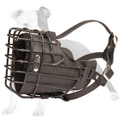 Wire Cage Dog Muzzle with Leather Padding