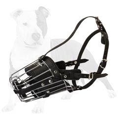 Wire cage with leather padding dog muzzle