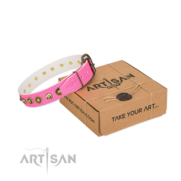 Full grain genuine leather collar with stylish design decorations for your canine