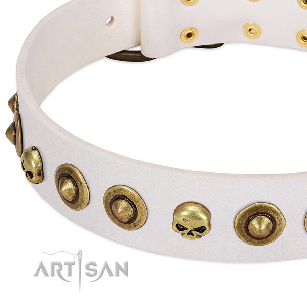 Inimitable decorations on full grain genuine leather collar for your doggie