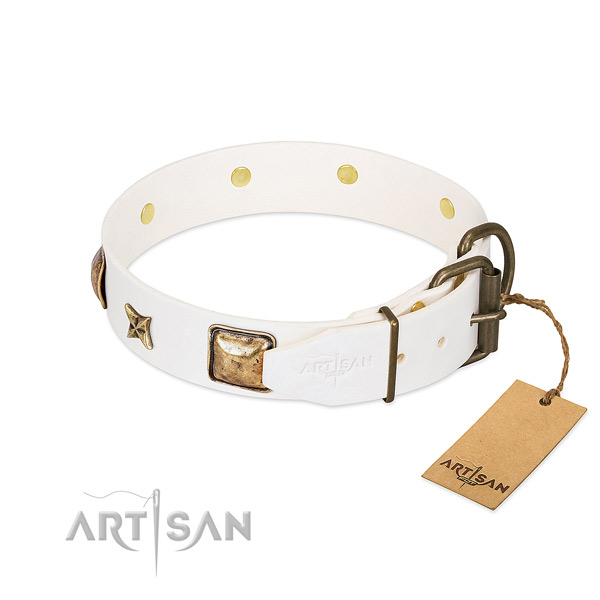 Natural genuine leather dog collar with strong hardware and adornments