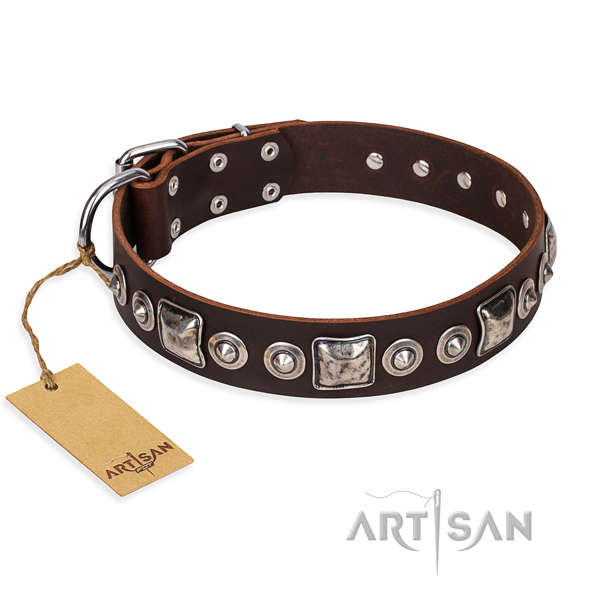 Natural genuine leather dog collar made of reliable material with strong fittings