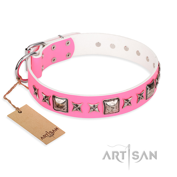 Leather dog collar made of quality material with corrosion resistant D-ring