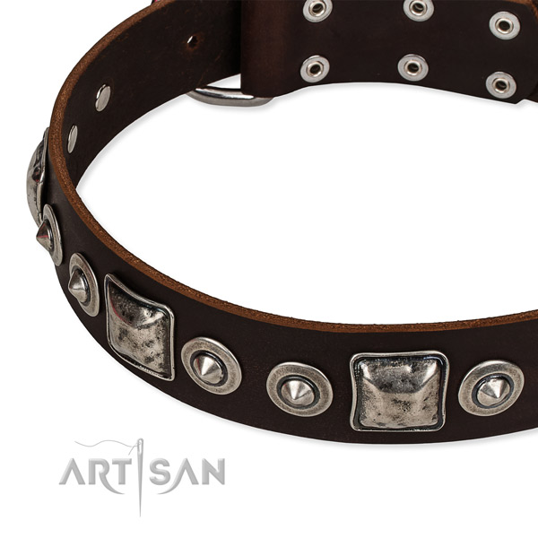 Full grain genuine leather dog collar made of top notch material with decorations