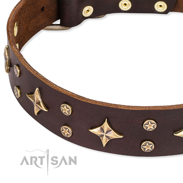 Comfortable wearing embellished dog collar of best quality full grain leather