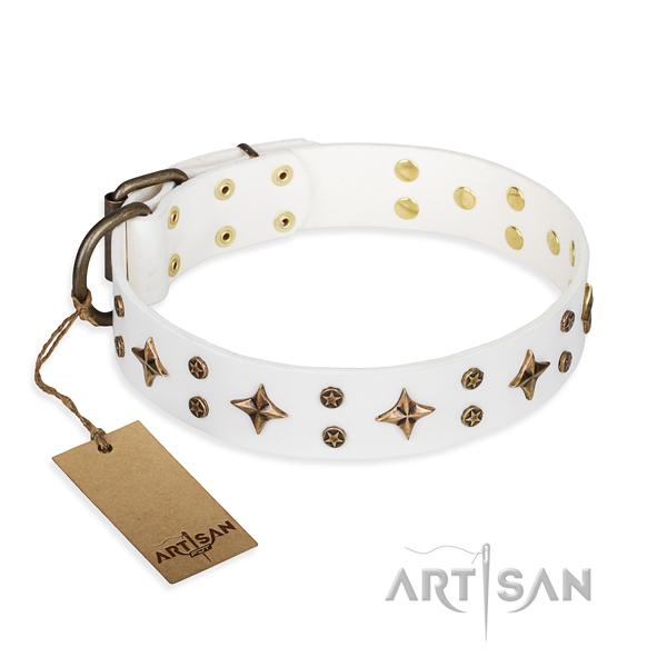 Comfortable wearing dog collar of quality natural leather with studs