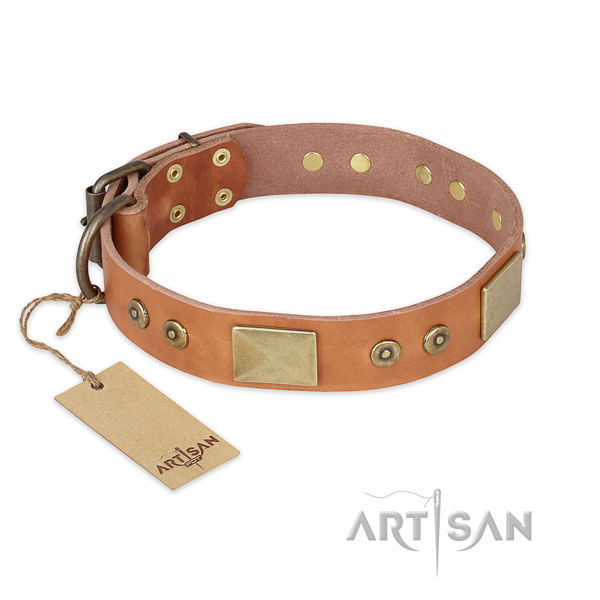 Comfortable full grain genuine leather dog collar for daily walking