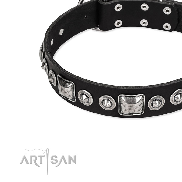 Full grain leather dog collar made of reliable material with embellishments